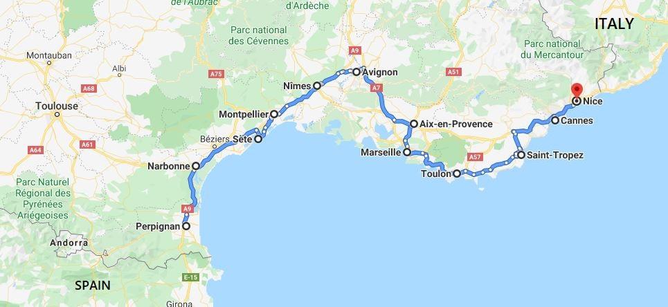 2 weeks in the South of France : Perpignan - Narbonne - Sète - Montpellier - Nîmes - Avignon - Aix en Provence - Marseille - Toulon - Saint Tropez - Cannes - Nice.